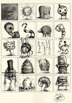 """Series of Sketches made with ballpoint pen on paper.""""Little and quick Concepts… Monster Sketch, Doodle Monster, Monster Drawing, Monster Art, Creepy Drawings, Creepy Art, Cartoon Drawings, Cool Drawings, Cartoon Art"""