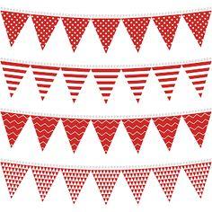 Banderines en Rojo para Fiestas para Imprimir Gratis.