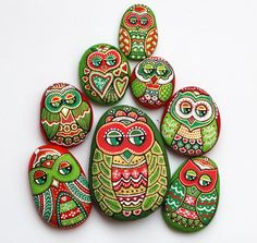 Hand Painted Pebble Owl by ISassiDellAdriatico on Etsy