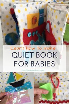 Learn how to make quiet book designed for babies. Find out how to make pages for sensory play and how to bind quiet book. Click for tips and guide. #quietbook #babybook #babykeepsake #DIYbaby #DIY #babygift