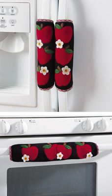 "Set of 3 Kitchen Appliance Handle Covers W/Apple Design - Slip over your stove and refrigerator handles. They Velcro closed for a secure fit. Polyester. Hand wash. Includes one 15""L x 9 3/4""W size and two 9 1/2""L x 7 1/2""W size. 9/18/13"