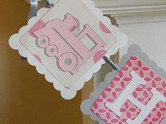 Girl Train Happy Birthday Banner, Train Party, Train Birthday, Choo Choo, Chugga Chugga, Pink and Grey