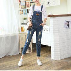 Hole Fashion Denim Overalls Jumpsuit – MegaIntl Skinny Jean Overalls, Denim Overalls Outfit, Denim Jumpsuit, Ripped Skinny Jeans, Distressed Skinny Jeans, Blue Overalls, Dungarees, Denim Fashion, Fashion Outfits