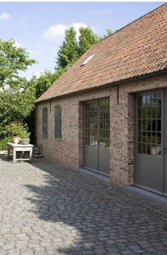 Love the door and window designs in this. Barn Conversion Exterior, Timber Frame Garage, Barn Windows, Contemporary Barn, Barn Renovation, Dordogne, Garden Buildings, House Extensions, Victorian Homes