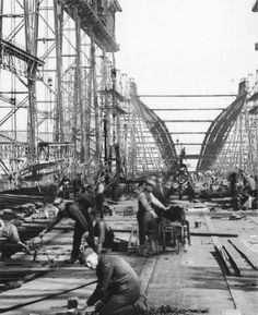 Titanic's constructionFlattening the mudlands prior to constructing the slipways and gantry cranes. Erecting the giant gantry cranes and walkways for the building of the Olympic class ships Titanic's. Rms Titanic, Titanic Photos, Titanic History, Titanic Ship, Titanic Wreck, Old Pictures, Old Photos, Vintage Photos, Belfast