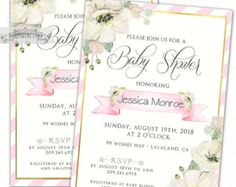 Fancy Baby Shower Invitation Blush Pink Lace by Cloud9Factory