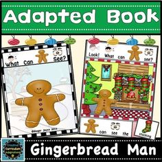 """Gingerbread themed adapted books are a great way to engage beginning readers. This 13 page interactive book focuses on things the Gingerbread Man sees during the holidays.  Each page has the same repetitive question and sentence frame:""""Look! What can Gingerbread Man see?"""" .  """"Gingerbread Man can see the ______. """" Students complete the sentence frame on each page by selecting the matching picture from the picture bank and attaching to the corresponding page.Check out my other GINGERBREAD…"""