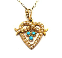 Victorian Heart Pendant with Seed Pearls and Turquoise x