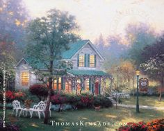"""Village Inn"" was released in May 1993. It is a real bed and breakfast place (Sutter Creek Inn, built in 1859) in Sutter Creek, California, located off historic Highway 49. The owners of the bed and breakfast encouraged Thom to paint, and now they own the original. Learn more: https://thomaskinkade.com/art/village-inn/?ref=13"