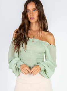 Roxy Top Green – Princess Polly AUS Off Shoulder Tops, Off Shoulder Blouse, Princess Polly, Feminine Style, Roxy, Long Sleeve Tops, Crop Tops, How To Wear, Outfits
