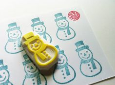 snow man stamp. hand carved rubber stamp. handmade. christmas. READY TO SHIP