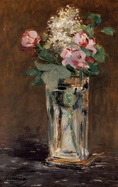 "artist-manet: "" Flowers in a Crystal Vase by Edouard Manet Medium: oil on canvas"""
