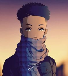 Made myself into an anime character, this time with a more chill vibe. Y'all have a goodnight. Black Love Art, Black Girl Art, Dope Cartoon Art, Black Anime Characters, Black Art Pictures, Black Artwork, Afro Art, Animes Wallpapers, Dope Art