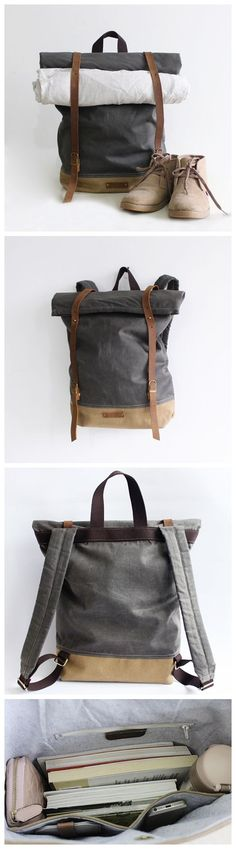 Handcrafted Waxed Canvas Travel Backpack Waterproof Backpack Hiking Rucksack Laptop Backpack 14129
