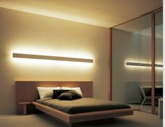 Indirect lighting … - Home Decor Bedroom Bed Design, Home Bedroom, Modern Bedroom, Bedroom Decor, Master Bedroom, Minimalist Bedroom, Guest Bedrooms, Bedroom Lighting, Interior Lighting