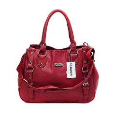 Look Here! Coach Embossed Logo Medium Red Totes DGB Outlet Online