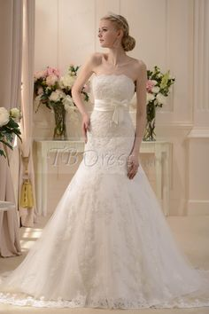 Pretty Slight Trumpet/Mermaid Strapless Floor-length Chapel Wedding Dress. I WANT! :o its so pretty & would go with my country theme with the lace !((: