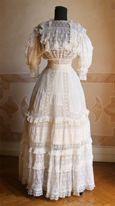 A beautiful lingerie dress from circa 1905.