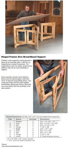 Hinge tabletop against wall and have these pull out ac-Idea. Hinge tabletop against wall and have these pull out accordion style to sup… Idea. Hinge tabletop against wall and have these pull out accordion style to support it when pulled down - Woodworking Jigs, Carpentry, Woodworking Projects, Into The Woods, Folding Furniture, Wood Furniture, Cardboard Furniture, Furniture Design, Diy Holz