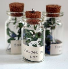 Forget Me Not bottle charm by radiosonggirl on Etsy Bottle Jewelry, Bottle Charms, Bottle Necklace, Bottle Art, Diy Jewelry, Jewellery, Mini Glass Bottles, Glass Vials, Small Bottles