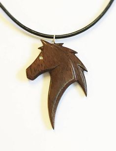 Wood Pendant Necklace Black Walnut Hand Carved Wood Pendant