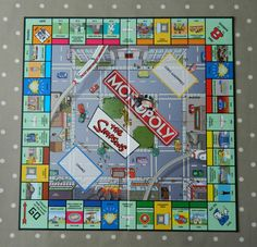 Simpsons Monopoly Game BOARD ONLY, Spare Game Pieces, Wall Art, Crafts, Upcycling