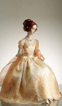 Nina in a 19th century Ball dress of pure silk, atlas, French laces, and pearl…