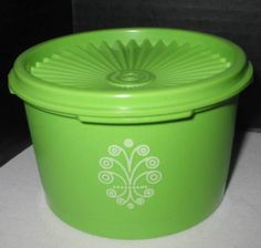 Vintage Tupperware Servalier # 1297-10 Lime Green Canister Storage Container