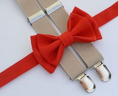 Boys Valentines Outfit -- Red Bow Tie & Beige Suspenders. Shop more styles www.armoniia.etsy.com