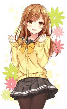 Tags: Anime, Pixiv Id 11081328, Love Live! Sunshine!!, Kunikida Hanamaru, Black Pantyhose, Pink Flower, Hazel Eyes