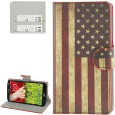 LG Optimus G2 horizonale Flip cover, case, hoesje USA flag