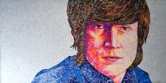 #JohnLennon 1965-66 Era. 100% Recycled Candy Wrappers #recycledart #recycle #RevolverTurns50 #Beatles #FabFour #Music #Legend