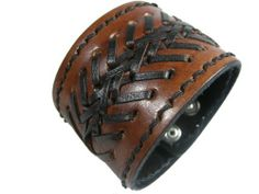 """Handmade 2"""" Width Adjust Cuff Bracelet, Brown Genuine (Real) Leather Decorated with Braided, 2 Steps Adjustable (LBCT3012) WINGAMES - Handmade Genuine Leather Bracelet. $17.99. Condition: 100% New. Cool! Handmade Genuine (Real) Leather Bracelet. Approx Size: 9.5"""" Length, 2"""" Width (Center). 2 Steps Adjustable (Adjust Range 8.3"""" - 9""""). Suit for Men & Women"""