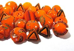 VINTAGE Orange Glass Buttons Diminutive Buttons 37 by punksrus