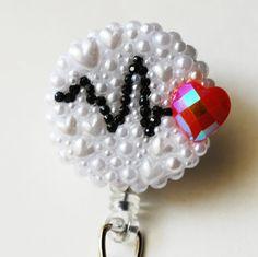 Special Order For Cphan 30 Ekg Heart Rhythm ID by ZipperedHeart Aroma Beads, Custom Badges, Retractable Id Badge Holder, Phlebotomy, Pop Socket, Cute Polymer Clay, Id Badge Reels, Nurse Badge, Nurses Week