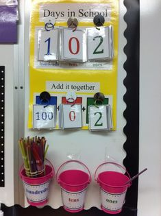 do calendar time, but this would be a great way to keep track of days and practice expanded form.Don't do calendar time, but this would be a great way to keep track of days and practice expanded form. 1st Grade Calendar, Kindergarten Calendar, Classroom Calendar, School Calendar, Kids Calendar, Morning Calendar, Calendar Board, Calendar Ideas, Math Calendar Wall