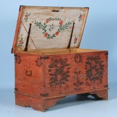 Antique Original Red Hand Painted Trunk with Rosemaling Floral Motif