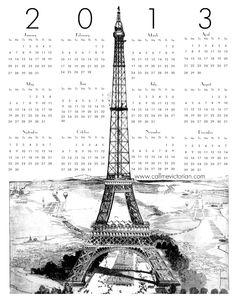 Eiffel Tower Paris Edition 2013 calendar. Freebie Free Printable Download // Call Me Victorian