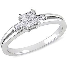 1/4 Carat T.W. Princess and Baguette-Cut Diamond Engagement Ring in 10kt White Gold