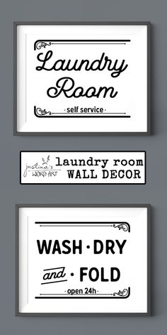 Laundry Room Decor, Wash Dry Fold, Laundry Sign, Printable Artwork, Set of 2 Print Laundry Signs, Art Crafts, Mudroom, Word Art, Printable Wall Art, Fine Art Paper, Laundry Room, Digital Prints, Promotion