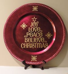 Hey, I found this really awesome Etsy listing at https://www.etsy.com/listing/255570194/red-christmas-charger-plate-joy-love