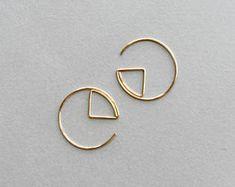 Geometric Hoop Earrings- Gold Filled Earrings Hoops- Gold Edgy Earrings- Open Circle Earrings- Eclipse Earrings- Minimalist Hoops- Gift Idea
