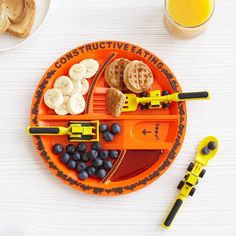 Construction Plate & Utensils | Constructive Plate, Kids Eating, Childrens Dinner Dishes | UncommonGoods