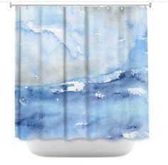 ocean wave shower curtain seascape painting artistic bathroom modern vibrant bathroom decor
