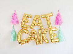 EAT CAKE Letter Balloon Banner