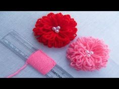 Grand Sewing Embroidery Designs At Home Ideas. Beauteous Finished Sewing Embroidery Designs At Home Ideas. Hand Embroidery Flowers, Hand Embroidery Stitches, Hand Embroidery Designs, Ribbon Embroidery, Embroidery Ideas, Embroidery Techniques, Hand Stitching, Yarn Flowers, Crochet Flowers