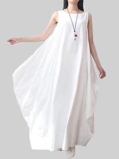 Асимметричные сплошной цвет без рукавов карман женщины свободно белье платье