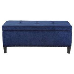 Shandra Bench Storage Ottoman With Tufted Top Blue   JLA Home : Target