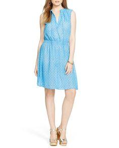 Lauren Ralph Lauren Geometric Print Smocked Dress