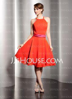 Homecoming Dresses - $92.99 - A-Line/Princess Scoop Neck Knee-Length Chiffon Charmeuse Homecoming Dress With Sash (022014493) http://jjshouse.com/A-Line-Princess-Scoop-Neck-Knee-Length-Chiffon-Charmeuse-Homecoming-Dress-With-Sash-022014493-g14493